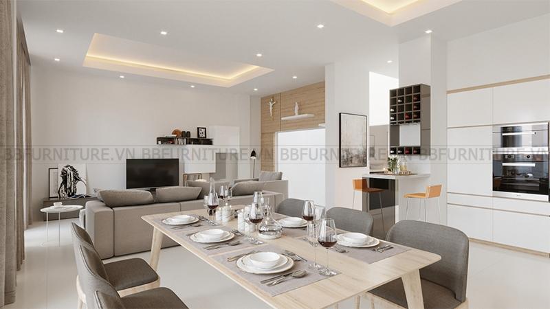 Thiết kế 3D nội thất phòng khách nhà anh Vinh Quận Thủ Đức