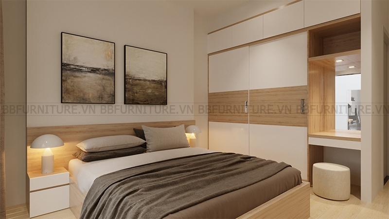 Thiết kế 3D nội thất phòng ngủ nhà anh Vinh Quận Thủ Đức